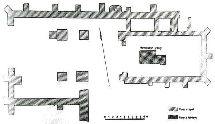Plan fundamentów kościoła farnego na Poświętnem. (za K. Musianowicz 1962)