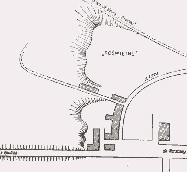 . Poświętne w Sochaczewie. Plan. (za K. Musianowicz 1962)