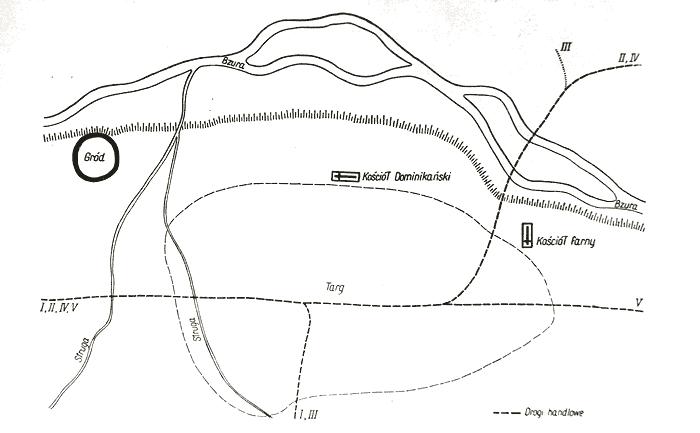 Układ przestrzenny Sochaczewa przedlokacyjnego. (za K. Musianowicz 1962)